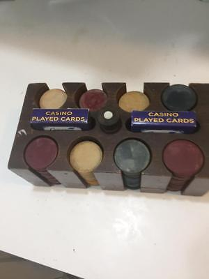 very old wood poker chip holder' with early plastic chips,2 decks marked cards C