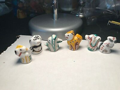 Lot Of 6 Chinese Zodiac Symbol Thimbles Sewing Collectibles Snake Rat Ram Tiger