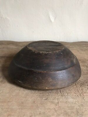 Small Early Antique Wooden Treen Hand Carved Bowl Original Paint Surface AAFA