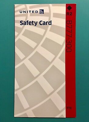 2018 United Airlines 777-300 Safety Card With Premium Economy