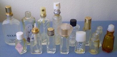 Lot of 14 Vintage Pre-Owned Empty Assorted Perfume Miniature Glass Bottles