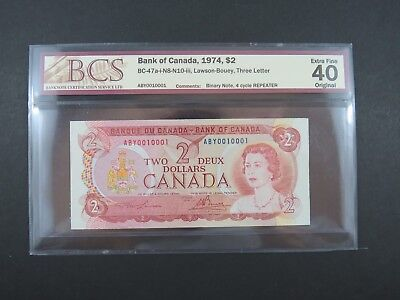1974 $2 Bank of Canada BC-47b-N8-N10-iii Binary and Repeater banknote