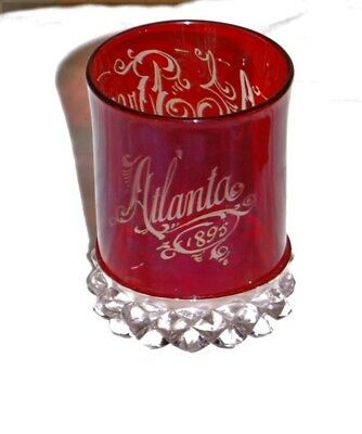 Ruby stained glass souvenir tumbler - Atlanta 1895 Mrs A.E. Brown - likely expo