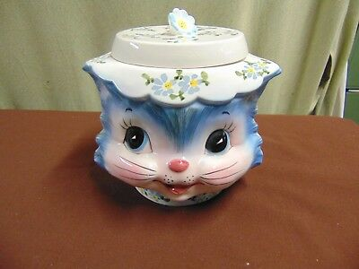 Vintage Lefton Miss Priss 1502 Kitty Cat Cookie Jar Wonderful Clean Condition