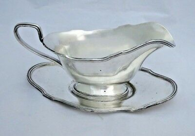 Vintage L B S Silverplate Gravy Sauce Boat Underplate Lawrence B Smith Co c1930s