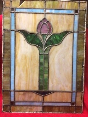 Antique Stained Leaded Glass Window Pastel Colors