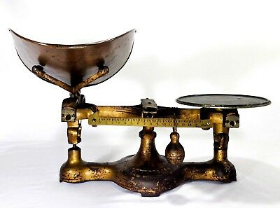 Late 19Th C Vint Lg Cast Iron Fairbanks Gold Painted Counter Scale W/brass Scoop