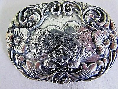 """Antique Chinese Silver Repousse Pin Export Jewelry Bat Mountains 2.5"""" x 1.75"""""""