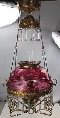 Antique Victorian Hanging Oil Lamp Cranberry Glass Bullseye Shade Parlor Library