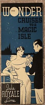 1933 Isle Royale Line Wonder Cruises Of Great Lakes Time Table & Advertisement