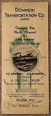 Dominion Transportation Co Time Table 1933 Ss Caribou & Ss Manitou 6 Day Cruise