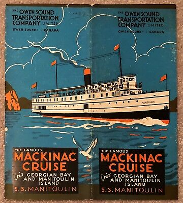Owen Sound Transportation Co Mackinac Cruise 1932 Time Table, Ss Manitoulin
