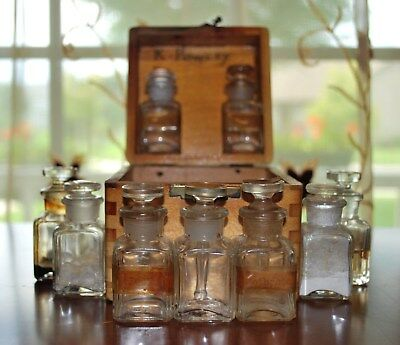 Antique Pharmacy Medicine Small Wooden Box With 9 Small Containers