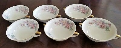 Lot of 6 - H & C Heinrich Selb Bavaria China # 12532 Footed Cream Soup Bowls
