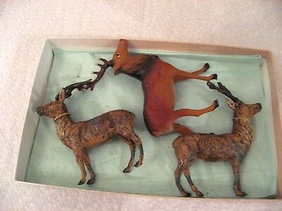 3 BEAUTIFUL ANTIQUE GERMANY REINDEER Christmas  PUTZ FIGURINE 2 metal 1 compo