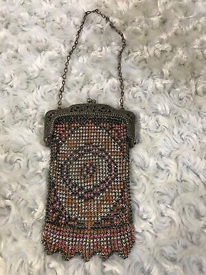 Antique Vtg Enamel Metal Mesh Ladies Purse Bag Art Deco Design