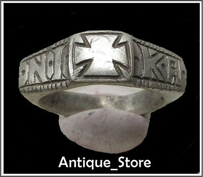 Ancient Silver Byzantine Ring** CROSS **NIKA**Inscription