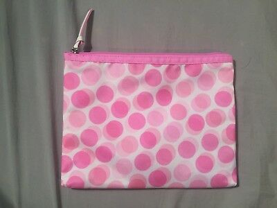 2018 NEW! Clinique Hot Light Pink Dots White Travel Cosmetic Makeup Bag - Lot 2