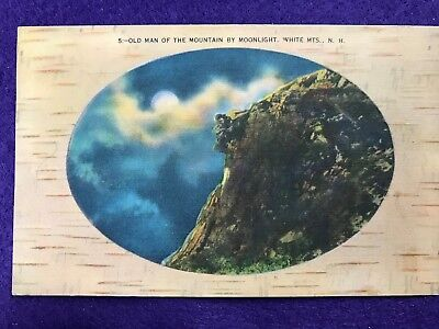 Vintage Postcard>1950>Old Man of the Mountain by Moonlight>White Mountains>NH