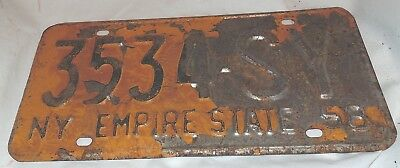 New York, License Plate, 1958, 3534-SY, Single Plate, Vintage, HOT ROD, (T)