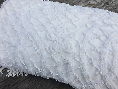 Vtg Chenille Squiggles Floral Bedspread 92X103 Cotton Repurpose Cutter Craft