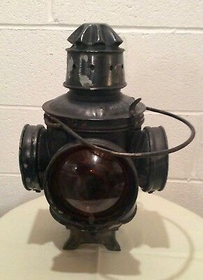 MILWAUKEE ROAD C M & St P RY SWITCH LAMP WITH FOUNT, BURNER & GLASS CHIMNEY