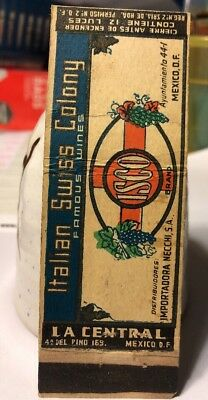 Vintage Matchbook Cover Italian Swiss Colony Famous Wines Mexico L89 Art ISCO $D