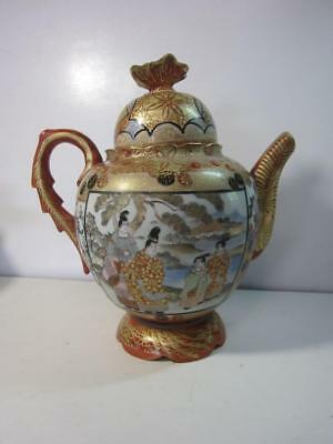 Fine Japanese Kutani Figural Porcelain Teapot  Red/gold Signed
