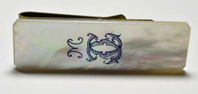 """Antique or vintage solid big 2 ½"""" x ¾"""" mother-of-pears money clip engraved M"""