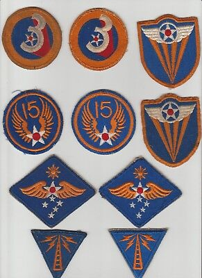 10 WW II Army Air Force AAF patches 3rd 4th 15th Far East  Communications