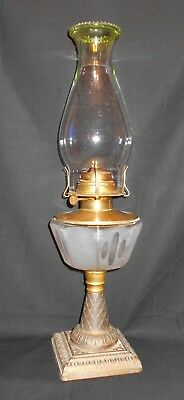 Antique Oil Lamp Pat'd Sept 22, 1887 Made In Usa Frosted Cut Glass Font
