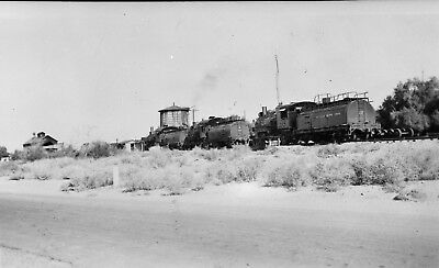 """Southern Pacific RR, Keeler, CA. 3 ng Engines, tower, 3x2"""" B&W neg.w/5x7"""" photo"""