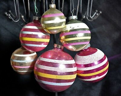 Lot of 6 Vintage Pink Shiny Brite Mercury Glass Mica Striped tree Ornaments