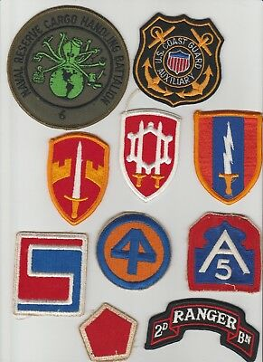 10 WW II & post WW II patches Vietnam 5th RCT Rangers Infantry Engineers Navy