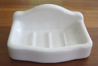 Vintage Porcelain Soap Dish, Holder Wall Mount White Soap Tray