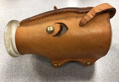 "VINTAGE Baby Milk bottle Leather Pig Cover 5"" Unique Marked Bottle"