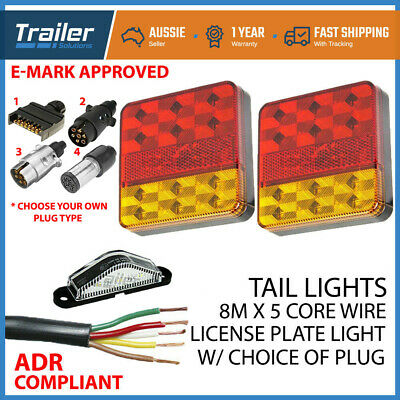 Pair of 12 LED TRAILER LIGHTS KIT - 1x NUMBER PLATE, PLUG, 8M x 5 CORE CABLE 12V