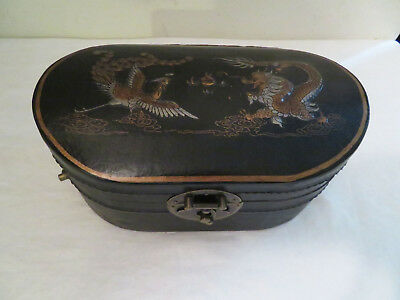 Vintage Antique? Dragon Phoenix Black Leather Dowry? Box Characters