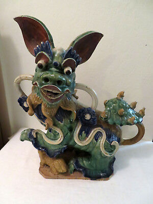 Antique Chinese Ming? Dynasty Foo Dog Terracotta Glaze Statue Finial AS IS