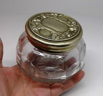Vintage antique Cut Glass CRYSTAL Jewelry Trinket Box BOTTLE TOP Silver Plated
