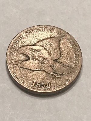 US 1858 SL Small Letters Flying Eagle One Cent Coin  1C