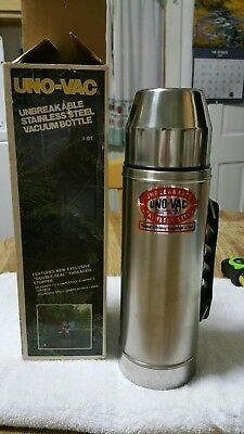 VTG Uno-Vac w/ Box Unbreakable Stainless Steel Vacuum Bottle 1 Qt NEW! !