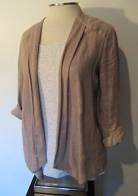 Ella Moss Linen Cotton Blend Fitted Drape Jacket Open Front Relaxed Look S EUC