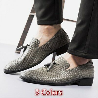 Men's Shoes Tassel Leather Dress Formal Casual Pointy Toe Slip on Driving Loafer