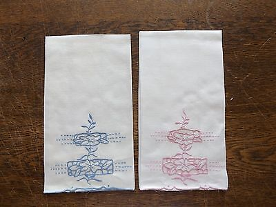 """Two Vintage White Linen Embroidered Cutwork Show Towels - 21"""" x 13"""" -Pink & Blue"""