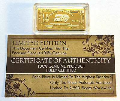 "NEW 10 Gram ""Crocodile"" Certified Ingot Finished in 999 Fine 24 k Gold a"