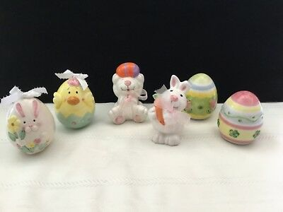 lot of 6 ceramic Easter egg bunny rabbit figurines holiday Decor (L94)