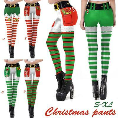 Christmas Xmas Womens Yoga Gym Sport Leggings Run Fitness Pants Workout Trouser