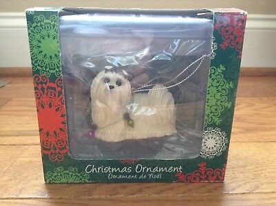 Sandicast Maltese Wearing Holiday Lights Christmas Ornament with Box