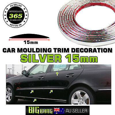 Car Silver Chrome Moulding Trim Strips 4M x 15mm Exterior Door Window Edge Guard